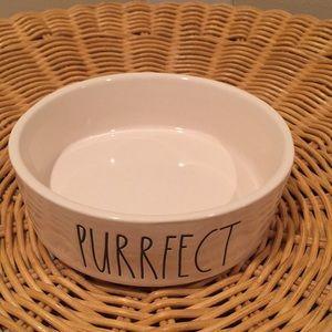 "Rae Dunn ""Purrfect""  ceramic pet dish"
